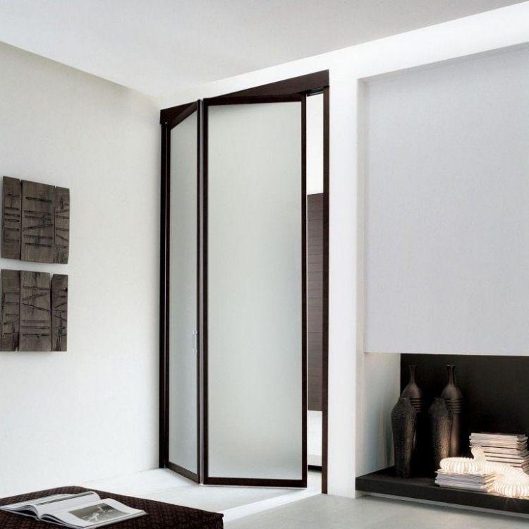 zweiteilige Falttür Unika aus Milchglas und braunem Rahmen ...