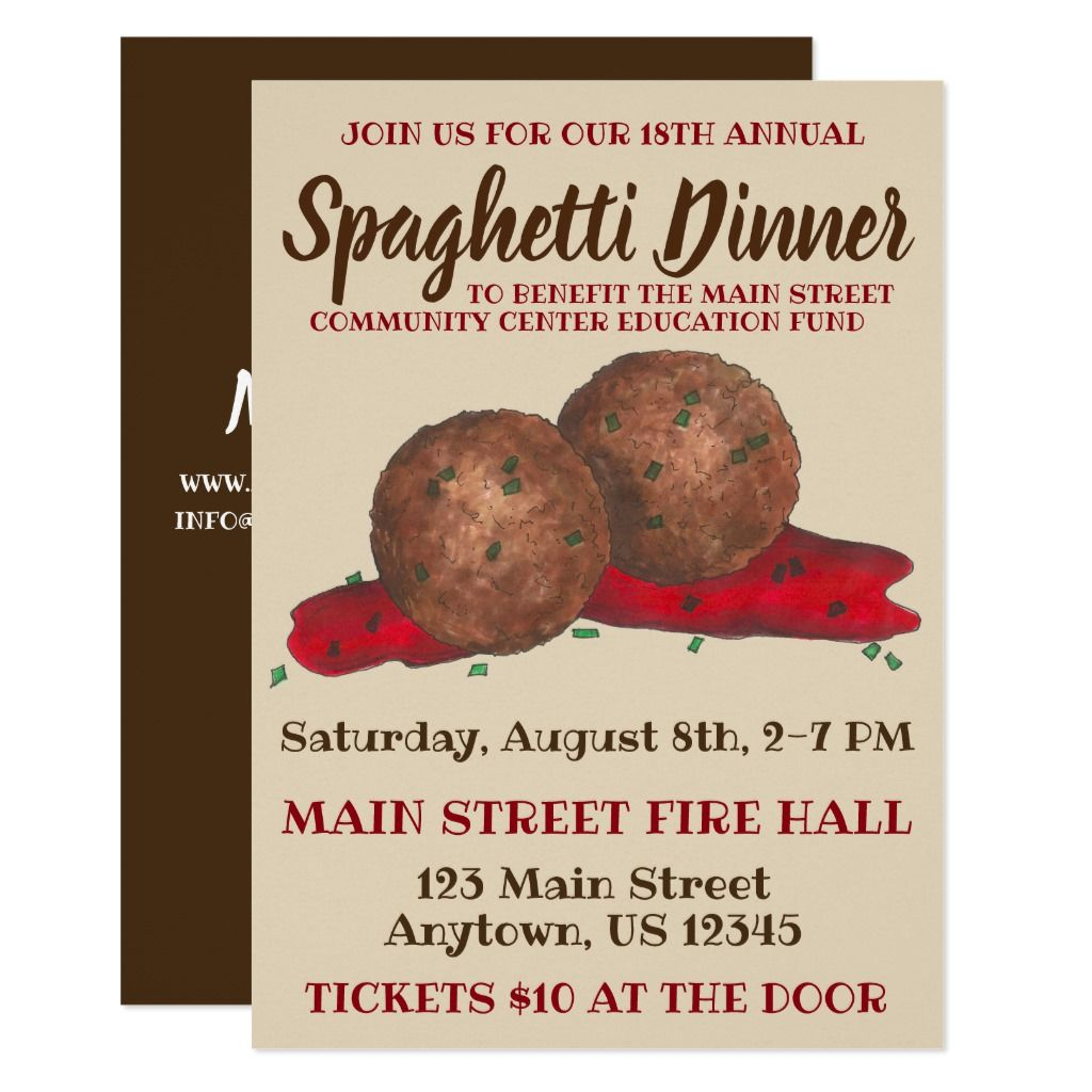 Invitations feature an original marker illustration of Italian meatballs in marinara sauce. Simply personalize with your information for a unique spaghetti dinner or Italian dinner party invitation. This design is also available on other products. Don't see what you're looking for? Need help with customization? Contact Rebecca to have something designed just for you.