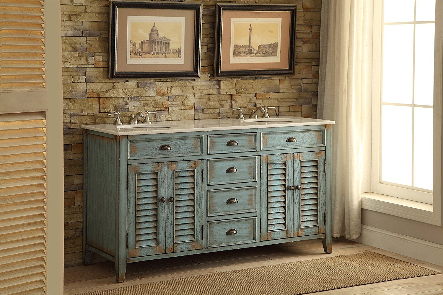 Beautiful Beach Look Bathroom Vanity Distressed Blue Modetti - Bathroom vanities palm beach