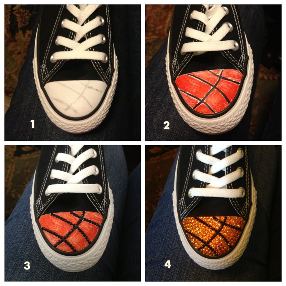 02a7488c2f2b7 Adding bling to your shoes! Basketball Converse shoes with Swarovski toes!  www.teammombling.com