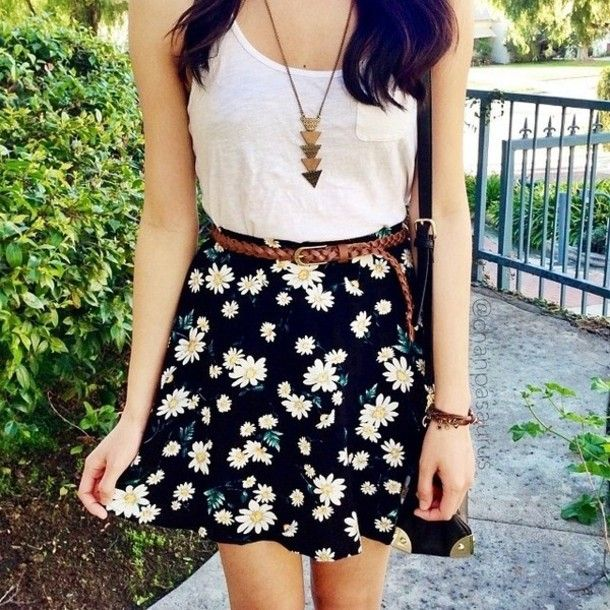 c3c1c540ea0 shirt t-shirt skirt daisys flowers floral skater skirt necklace gold top.