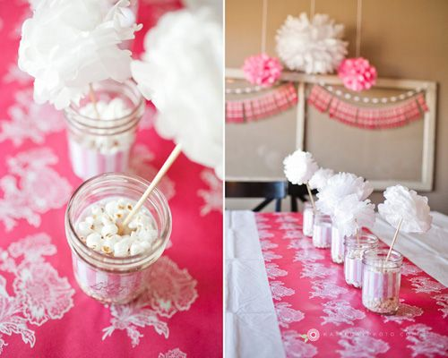 Mason Jar Baby Shower Ideas | Pink Popcorn Ready To Pop Baby Shower Mason  Jar Table. Centerpieces ...