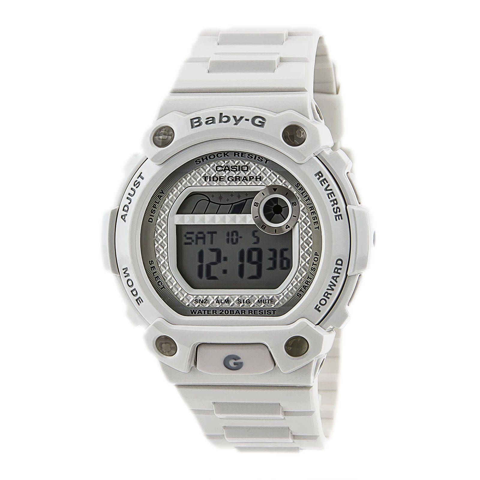 Casio BLX1007 Women's BabyG Alarm 200M WR White Resin