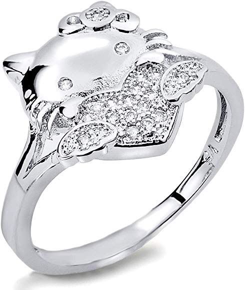 Ven Fashion VF Lovely Hello Kitty Ring 18K WGP Alloy Clear