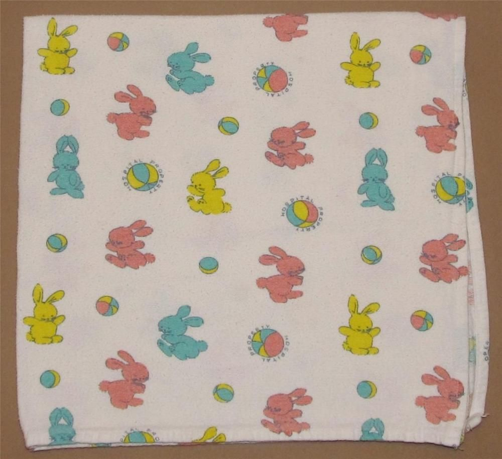 Vintage Hospital Property Bunny Rabbit Ball Receiving Blanket ...