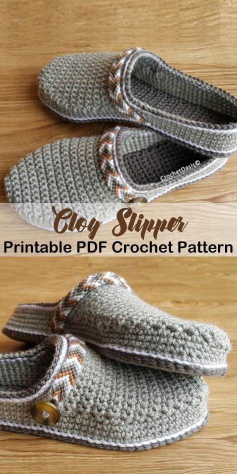 Machen Sie diese Clog Hausschuhe-Slipper Häkelanleitungen - Häkelanleitungen pdf - Hut c #crochetpatterns
