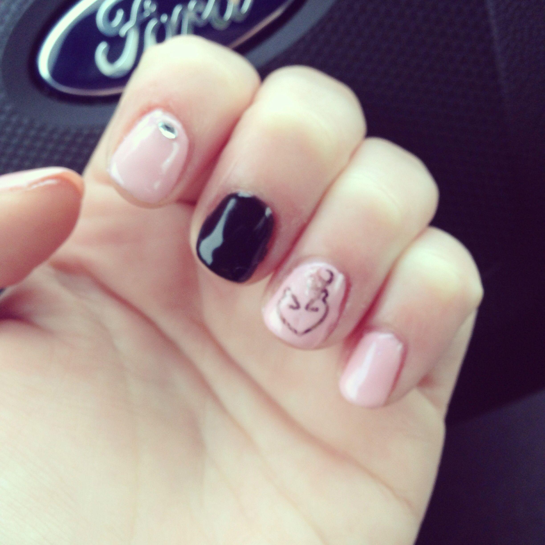 My Shellac Nails With Browning Nail Art And A Diamond Nails