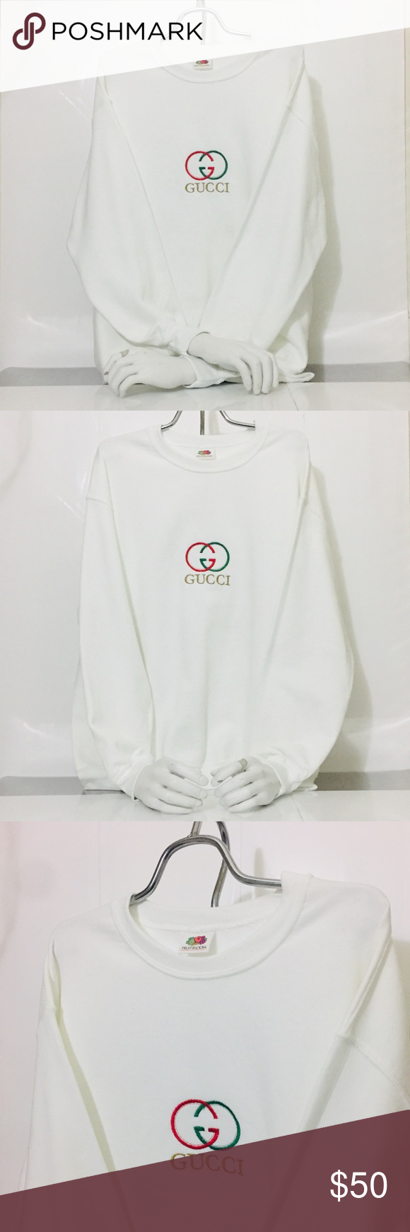 Vintage White Bootleg Gucci Embroidered Sweatshirt Embroidered Sweatshirts Sweatshirts White Vintage [ 1740 x 580 Pixel ]