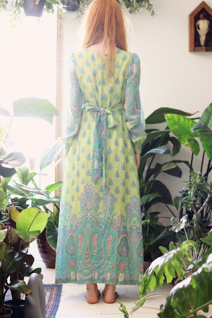 1970s Bohemian Empire Line Maxi Dress