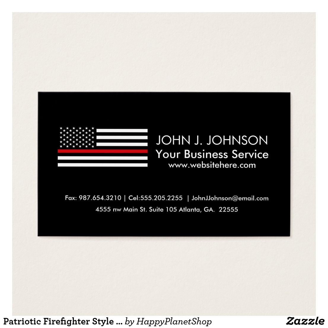 Patriotic Firefighter Style American Flag Business Card | Pinterest ...