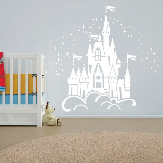 floating disney fairy castle wall sticker vinyl decal by