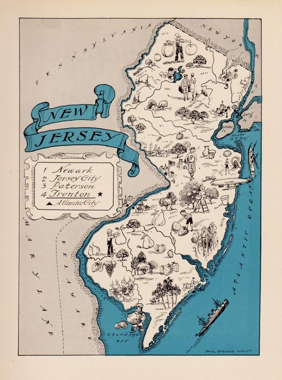 30's Antique NEW JERSEY State Map Animated New Jersey ... on map of jersey shore towns, map of jersey shore coast, map of europe coast, map maryland coast, map of southeastern united states coast, map of long beach island jersey shore, map of north jersey beaches, map of tybee island coast, map new york coast, map of washinton coast, map of lake michigan coast, map of singapore coast, map of eastern u.s. coast, map of thailand coast, map of biloxi coast, map of pismo beach coast, new jersey map east coast, map of south jersey coast, map of eastern united states coast, map of south atlantic coast,