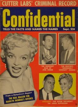 One of the Confidential Magazine covers that led to libel