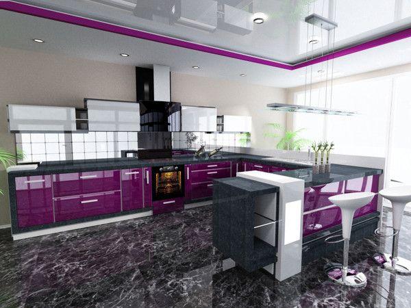 Modern Purple Kitchen 3d Model Purple Kitchen Cabinets Purple