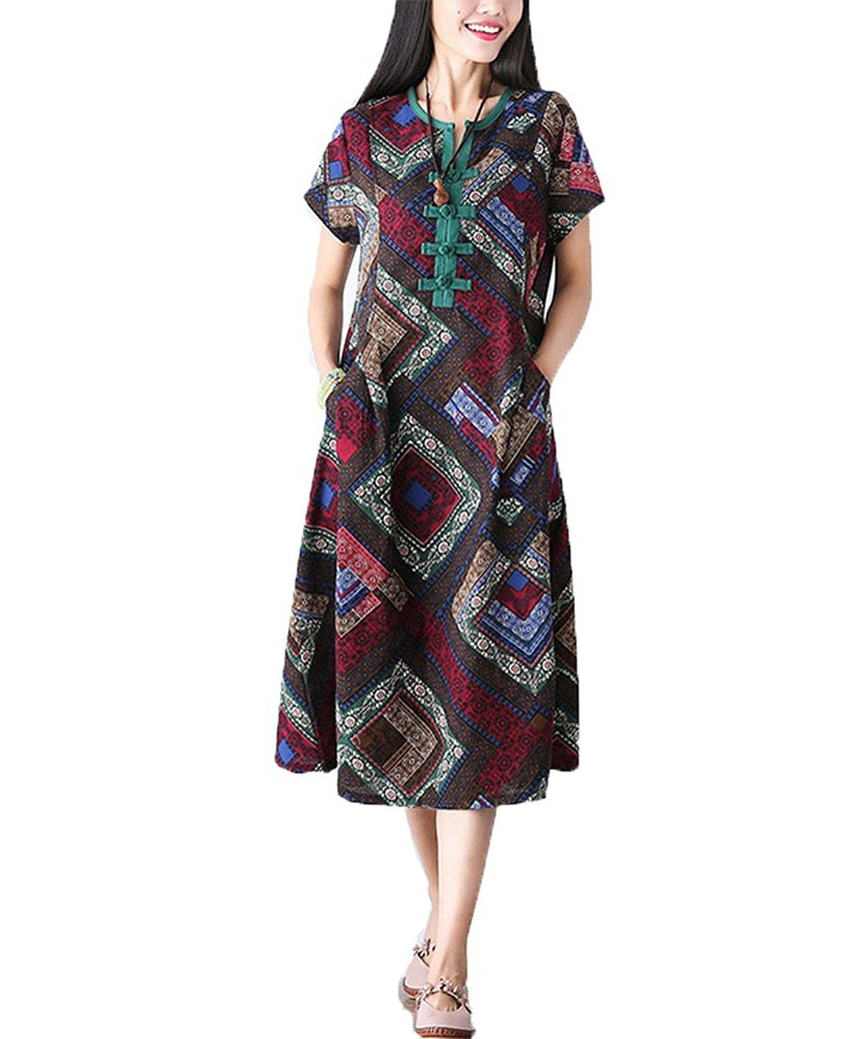 melbedy fashion womens cotton and linen aztec patterned oversized