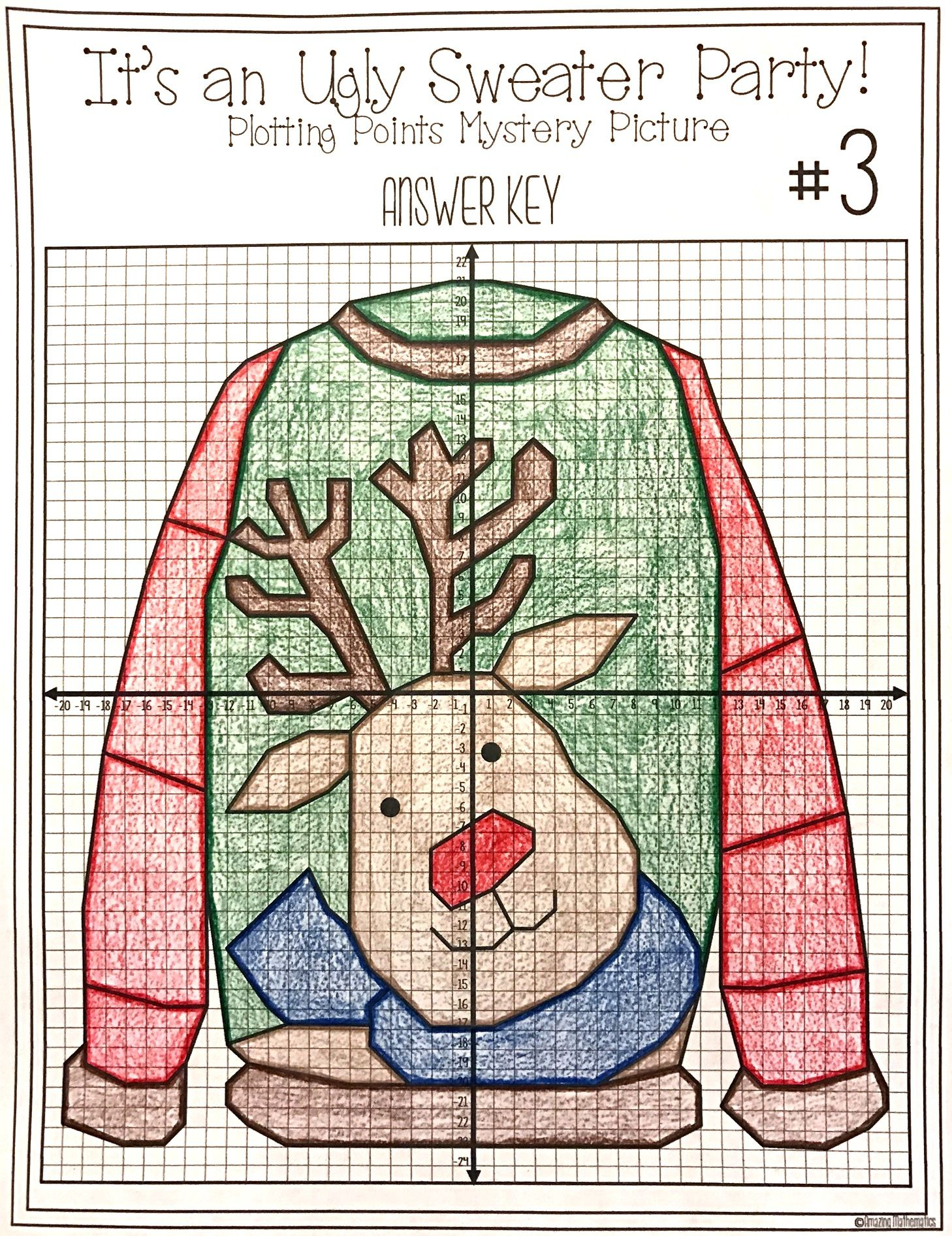 Christmas Math Activity Ugly Sweaters Plotting Points Mystery
