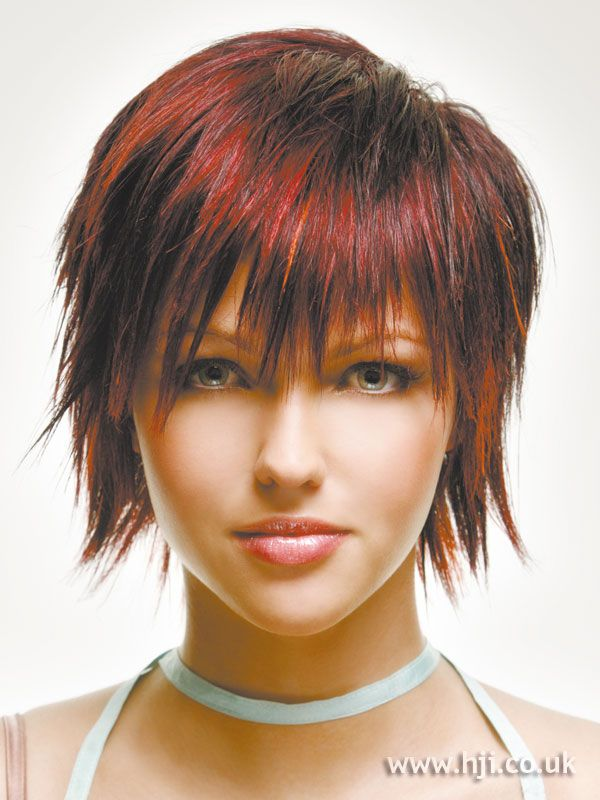 red choppy hairstyle
