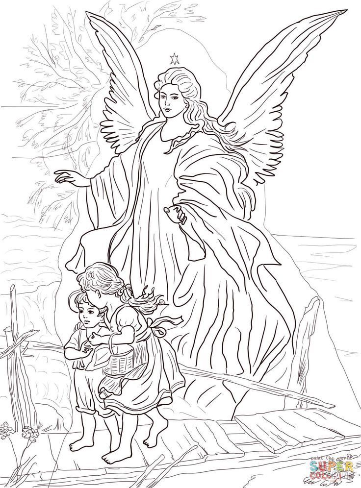 Coloring Pages Of Sky Scene By Guardian Angel Coloring Page Free Printable Coloring Pages Angel Coloring Pages Christian Coloring Saint Coloring