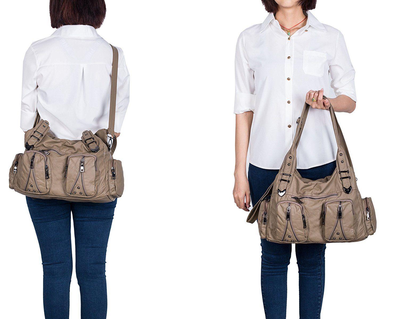 f0c21240bc Amazon.com  Classic Shoulder Bag Purse Soft Washed Leather Hobo Handbag  Crossbody Bag for Women (Khaki)  Shoes