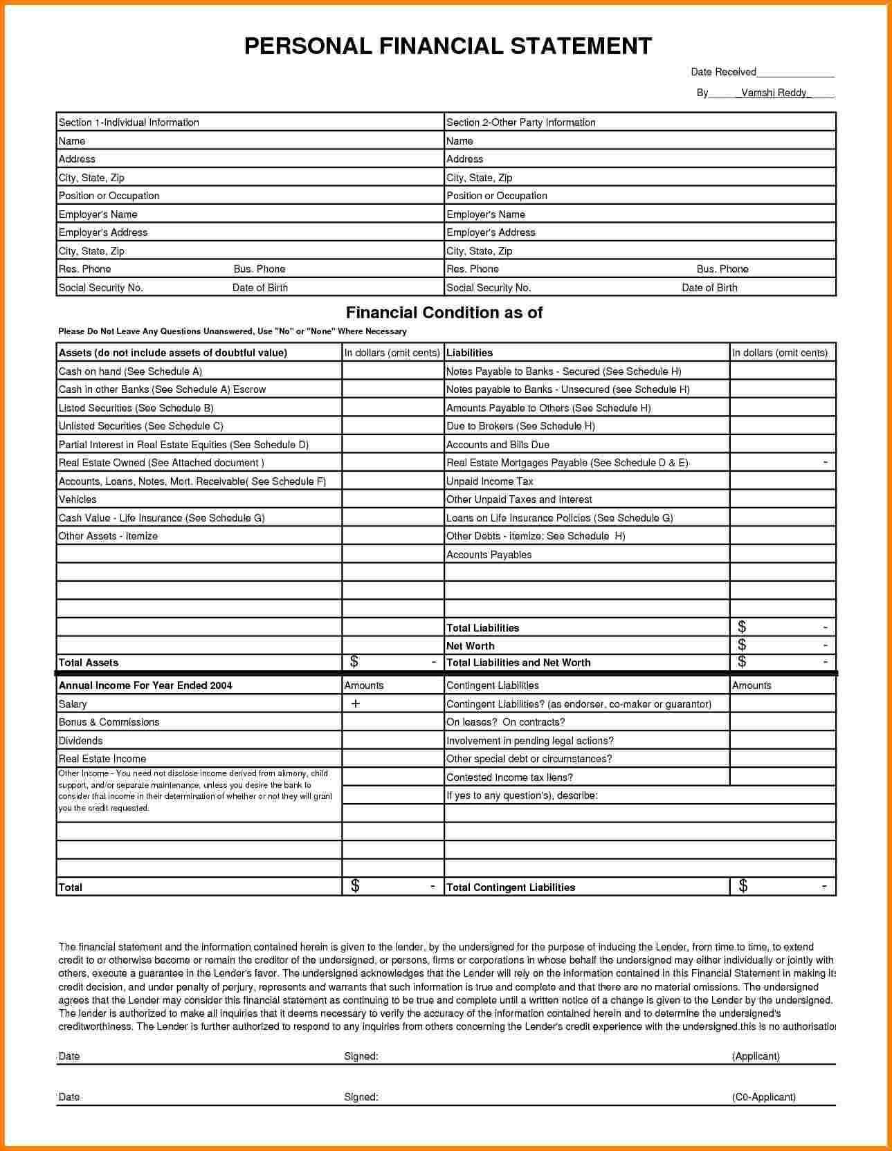 Free Financial Statement Template Word And Free Balance Sheet Form