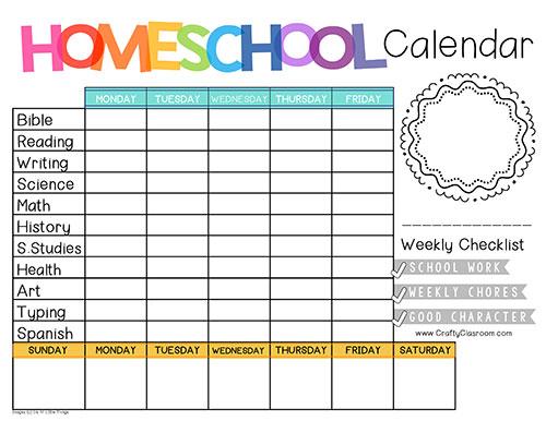 editable homeschool schedule template Google Search in
