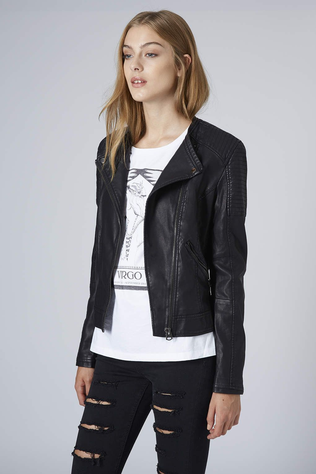 Collarless Faux Leather Biker Jacket Leather Outerwear Faux Leather Biker Jacket Jackets [ 1530 x 1020 Pixel ]