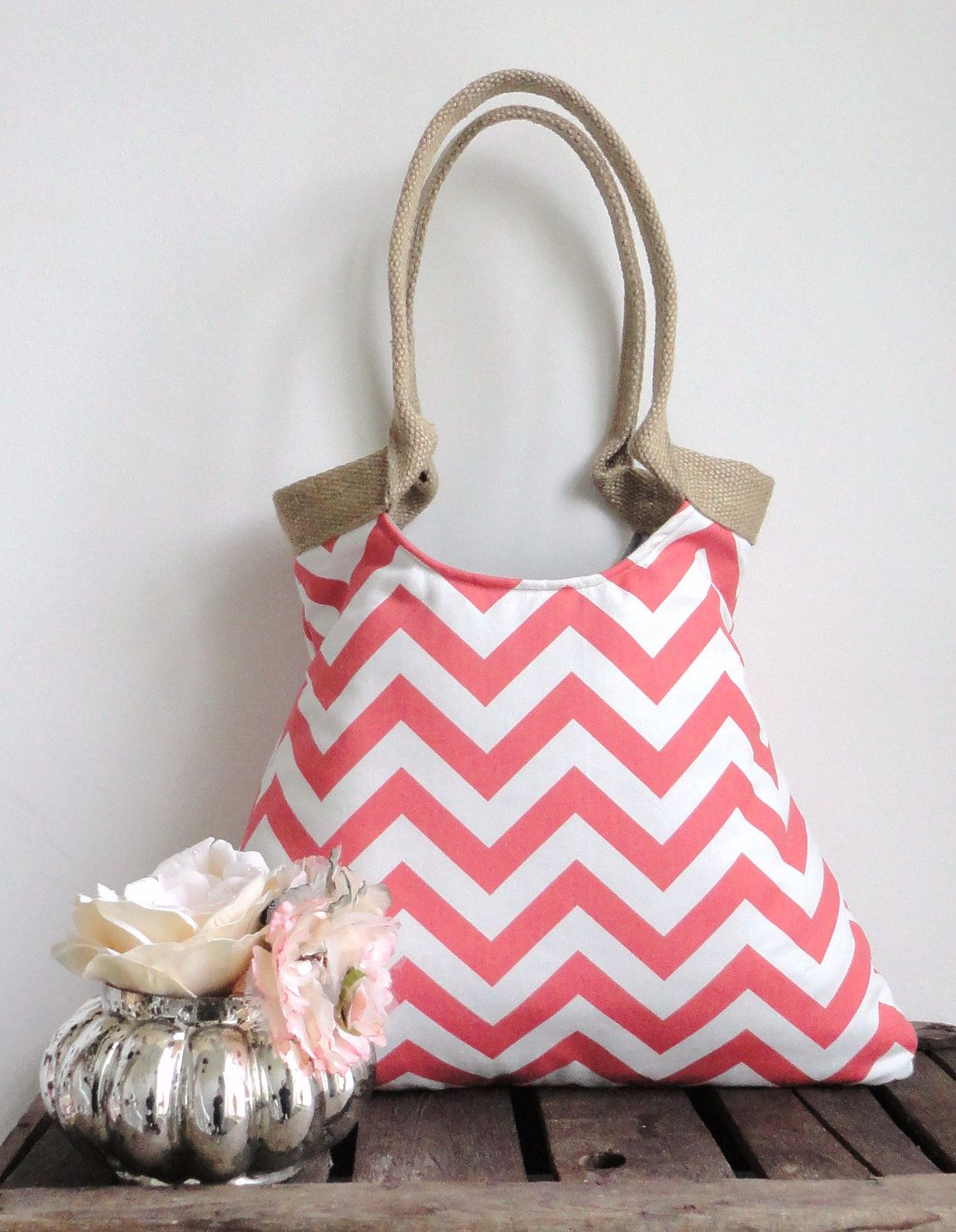 Coral chevron tote bag with jute by madebynanna on Etsy