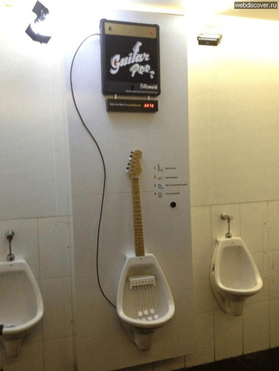 Guitar Pee - Toilet game for men. This is awesome!!!!