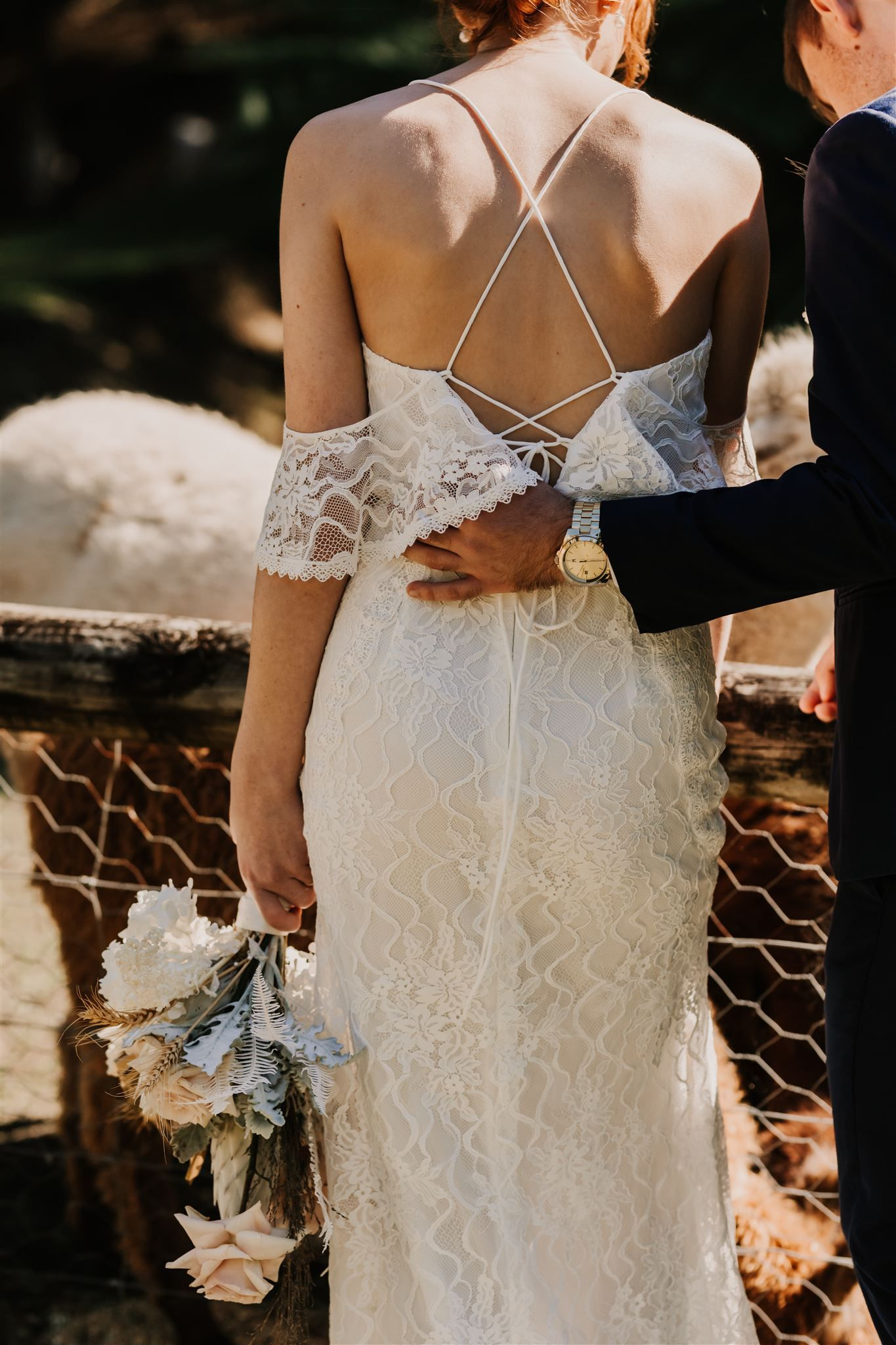 Cold Shoulder Wedding Dress with Ruffled Sleeves in 2020