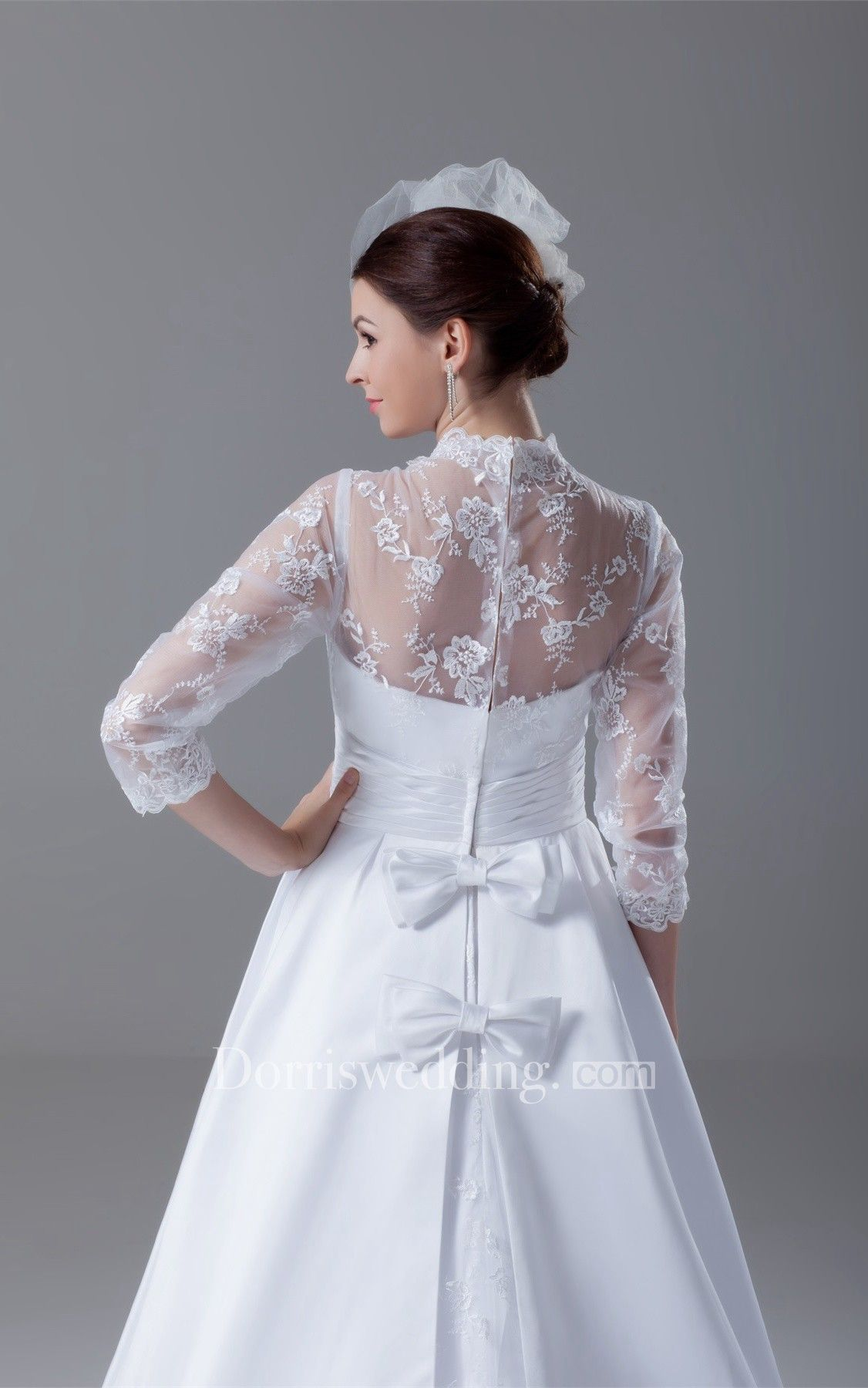 Exquisite long sleeve high neck satin appliqued a line wedding