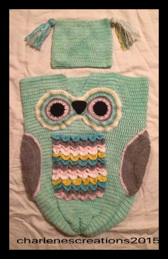 Baby Owl Cocoon and Matching Hat by CharlenesCreations