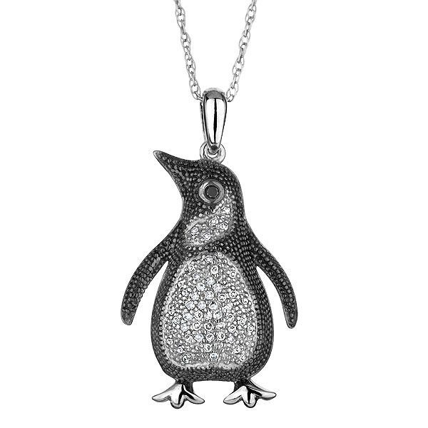 Reeds jewelers sterling silver diamond and black diamond penguin reeds jewelers sterling silver diamond and black diamond penguin pendant 16ctw 225 mozeypictures Images
