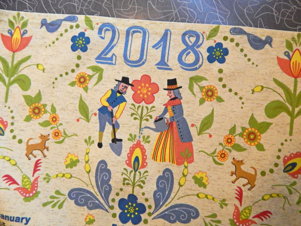 2018 Swedish Folk Art Garden Linen Cotton Kitchen Towel or Wall ...