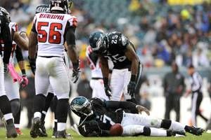 One play in the first quarter summed up the Eagles' day.    On 2nd-and-10 from the Eagles' 17, LeSean McCoy ran left.    Nothing there.    So Shady cut on a dime and ran right.    For a second, he appeared to have daylight. Then safety Thomas DeCoud arrived and stopped him for a one-yard loss. All that running and McCoy couldn't even get back to the line of scrimmage.    To Read More click the link below Pic.