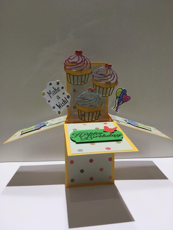 handmade pop up cupcake happy birthday card3d carddaughter