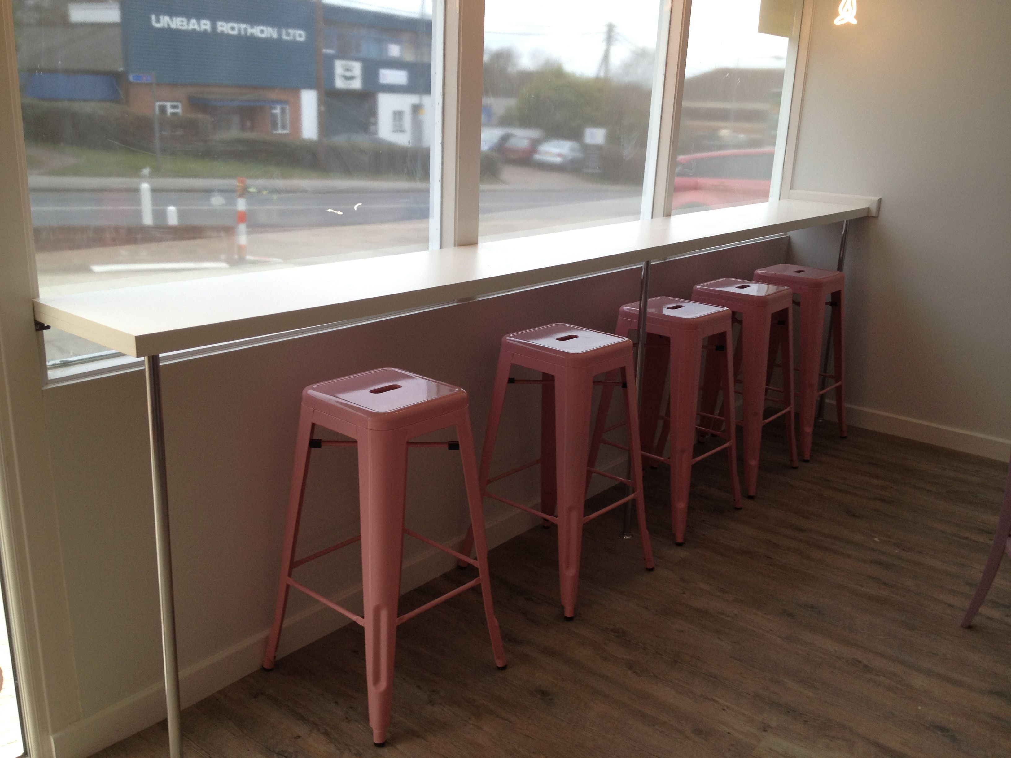 The Leon bar stools complement the modern feel of this cafe. Based ...
