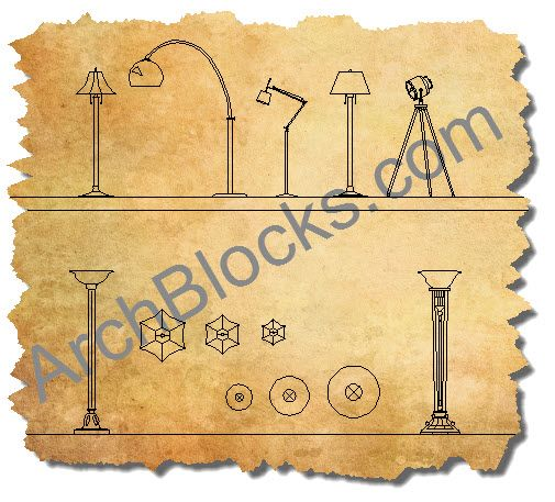 Outdoor Lamp Cad Block: Floor Lamps Lighting CAD Block Symbols