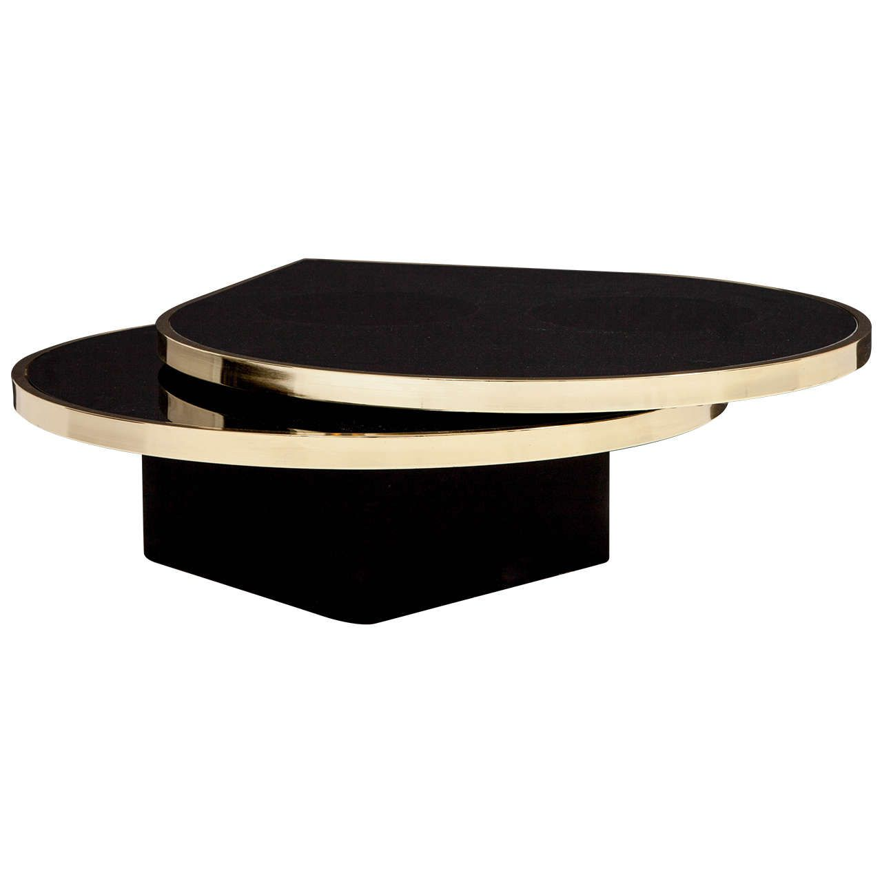 black glass and brass teardrop swivel cocktail table by dia