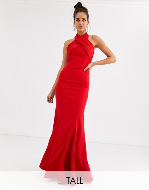 Chi Chi London Tall Cross Over Halter Neck Maxi Dress In Red Halter Neck Maxi Dress Dresses Red Fashion