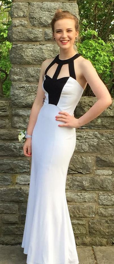 Floor-length Prom Evening Dress Long Black and White Dresses With ...