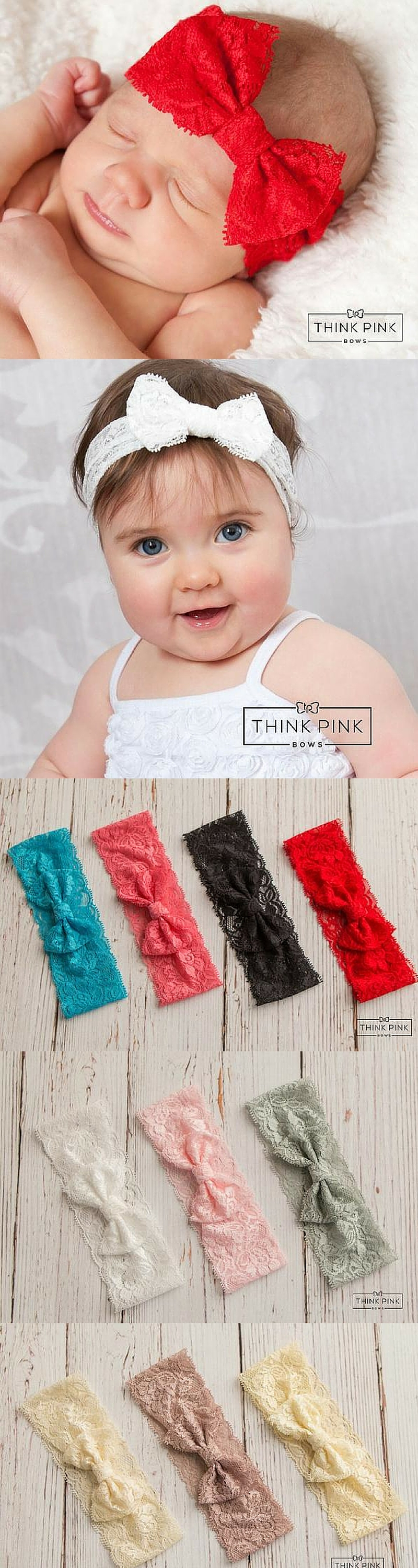 This headband for newborns is so cute, made from a gorgeous, stretchy lace, tied in a darling bow! Pair this elegant bow with one of our dresses perfect for any occasion and you'll soon see, this is one bug you won't want to squish! Explore hairbands at http://thinkpinkbows.com/collections/bow-headbands/products/little-love-bug-lace-bow-headband-10-colors-available?variant=11055560515 | Kids Fashion