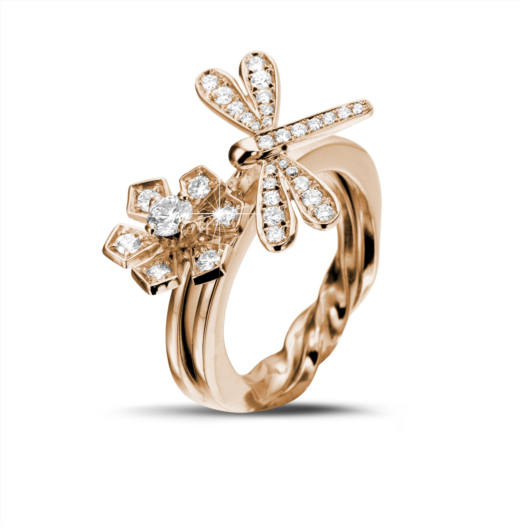 waa white rings p gold dragonfly mounting ring halo round engagement