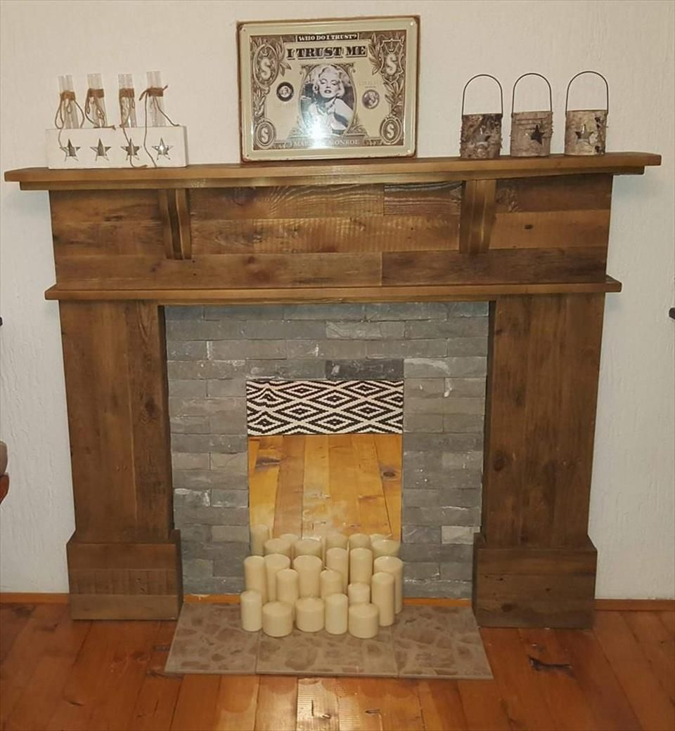 Pallet Fireplace With Tv Stand Easy Pallet Ideas Pallet Fireplace Faux Fireplace Diy Fireplace Mantels