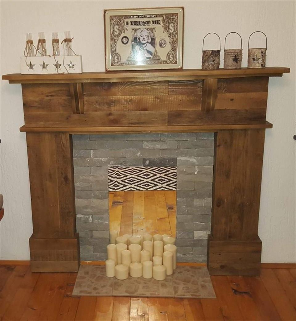 Pallet Fireplace Mantel Pallet Fireplace Faux Fireplace Diy
