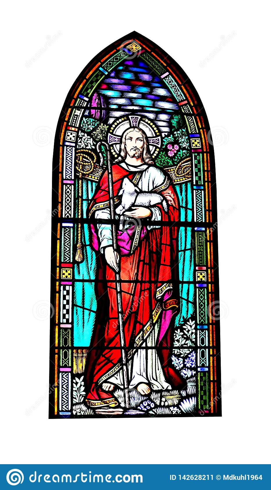 Church Stained Glass Window Of Jesus Christ Holding A Lamb Stock Image Image Of Christ Beautiful 142628211 Stained Glass Windows Stained Glass Jesus