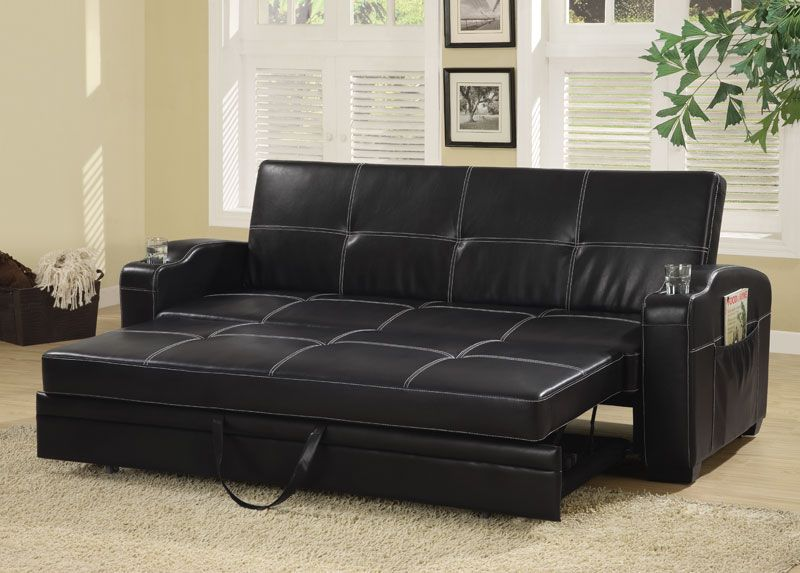 300132 Black Faux Leather Sofa Bed W Storage Cup Holders By Coaster Leather Sofa Bed Sofa Bed With Storage Black Leather Sofa Bed