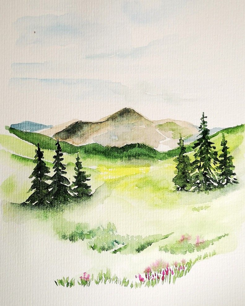 Aquarelle Watercolor Watercolorpainting Watercolor Art Watercolorlandscape Paysage Montagne Mountain M Dessin Paysage Dessin Montagne Paysage Montagne
