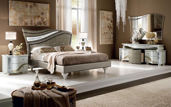 Camera Da Letto Moderna Marrone : Scarica sfondi camera da letto k interni eleganti dallo stile