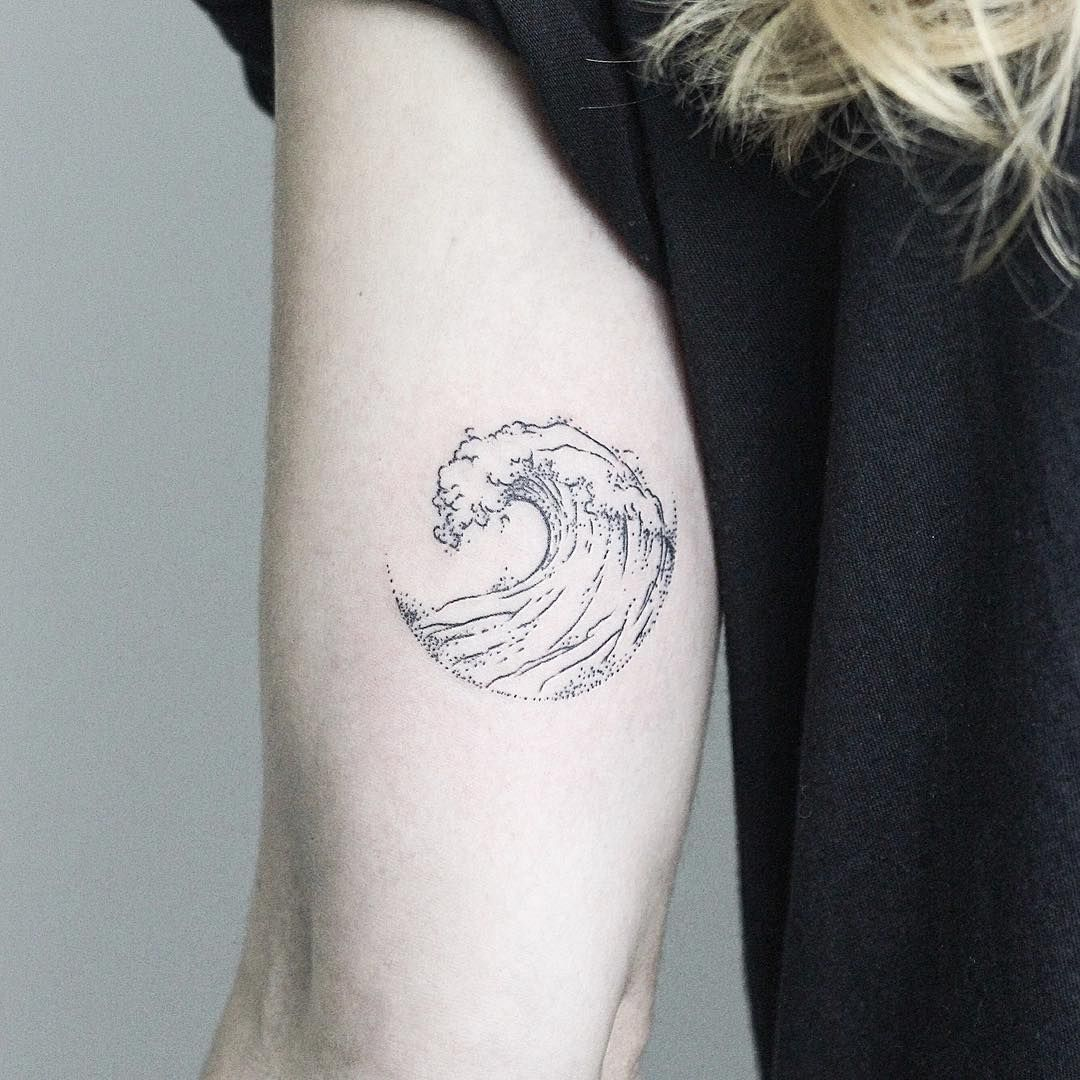 wave dotwork tattoo