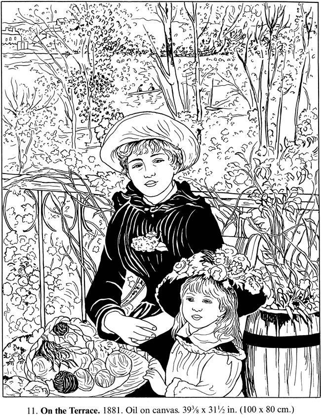 Color Your Own Renoir Paintings Coloring Pinterest